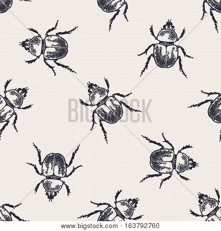 Beetles seamless pattern. Vintage hand drawn insects.