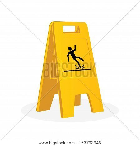 Wet floor sign falling man. Cleaning. Isolated flat vector illustration