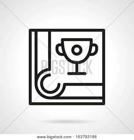 Abstract symbol of winner cup on pool table near a corner hole. Billiards tournament or championship. Sports success. Black simple line vector icon.