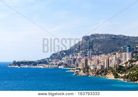 View to Monte Carlo and Larvotto in Principality of Monaco French Riviera France
