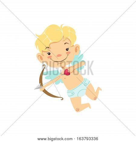Blond Boy Baby Cupid Winged Toddler In Diaper Adorable Love Symbol Cartoon Character. Happy Infant Cupid Saint Valentines Day Flat Vector Illustration.