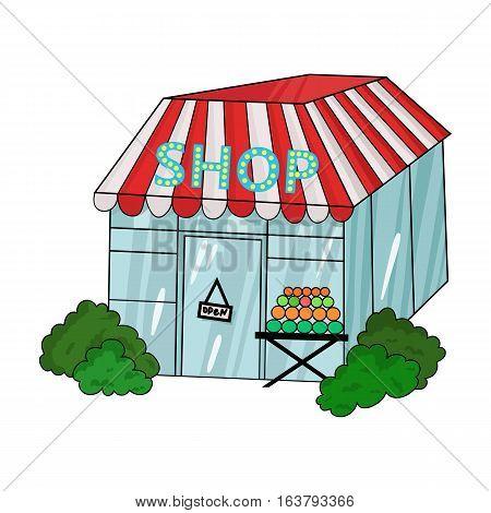 Supermarket icon in cartoon design isolated on white background. Supermarket symbol stock vector illustration.