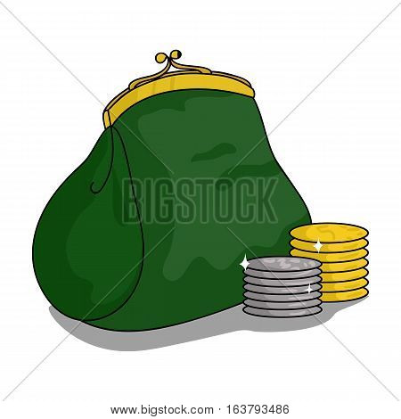 Purse with coins icon in cartoon design isolated on white background. Supermarket symbol stock vector illustration.