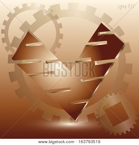 Copper valentine heart Abstract celebration author style design love mechanics metal object element rotation shadow logo handmade eps10 vector illustration Stock