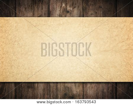 Old Paper Background on Wood Wall Brown Papers Texture over Dark Wooden Planks Vintage Frame