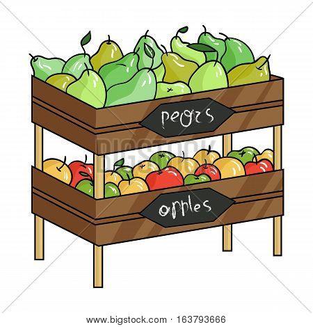Raw food lying on rack shelves icon in cartoon design isolated on white background. Supermarket symbol stock vector illustration.