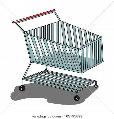Shopping cart icon in cartoon design isolated on white background. Supermarket symbol stock vector illustration.