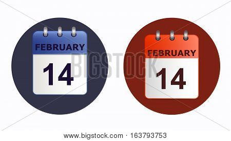 14 February, calendar icon in two variants on white background. Concise concept of Valentine's day. Vector is made in a flat style. Suitable for project of websites, as a design element. Horizontal.