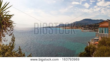 View to town Menton on French Riviera Cote d'Azur France