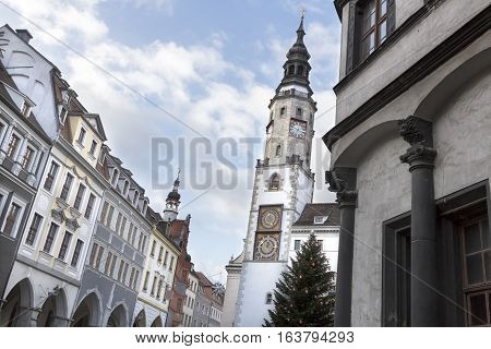 Historic town of Goerlitz in Germany with town hall tower