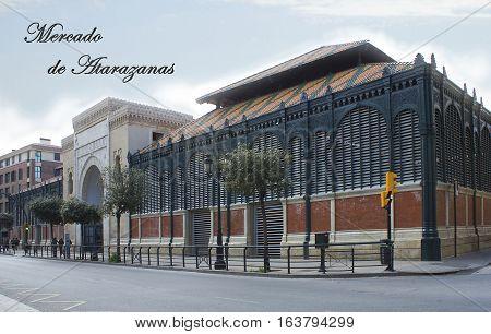 External view of Mercado Central de Atarazanas, Atarazanas central food market, in Malaga, south of Spain.