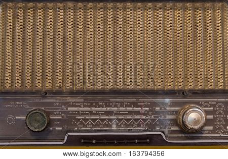 Front Panel Of Vintage Antique Analog Radio With Radio Dial. Old Radio Concept.