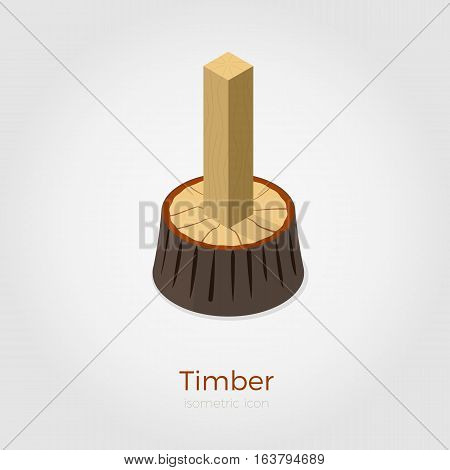 Timber vector illustration in isometric style. Cutted timber from stump in wood. Isolated on white background, stylish flat colors.