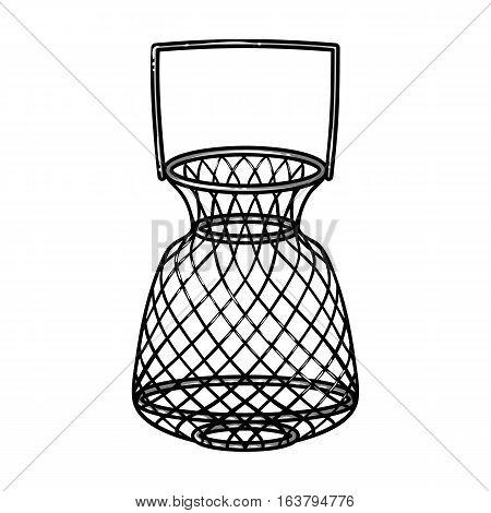 Fishing net icon in cartoon design isolated on white background. Fishing symbol stock vector illustration.