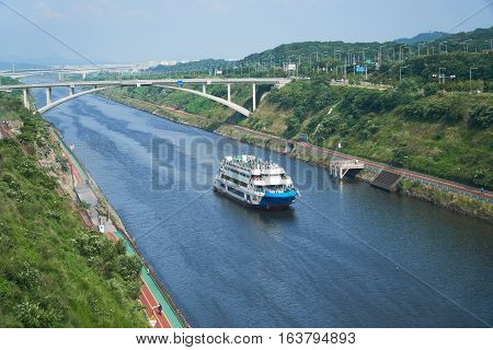 Cruise Ship On Gyeongin Ara Waterway