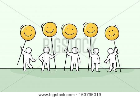 Crowd of working little people with smile sings. Doodle cute miniature about communication. Hand drawn cartoon vector illustration for chat and web design.