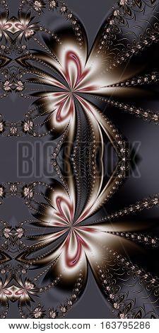 Flower fractal pattern on grey.