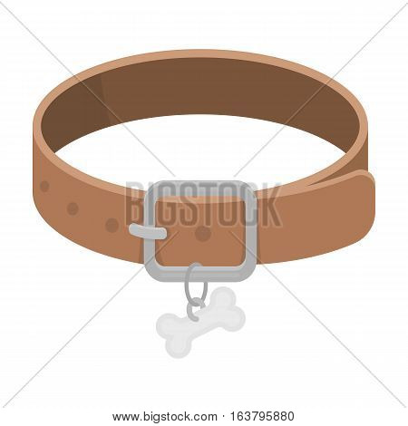 Dog collar icon in cartoon design isolated on white background. Veterinary clinic symbol stock vector illustration.