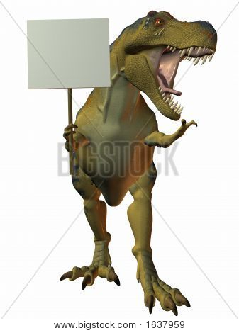 T-Rex With Sign