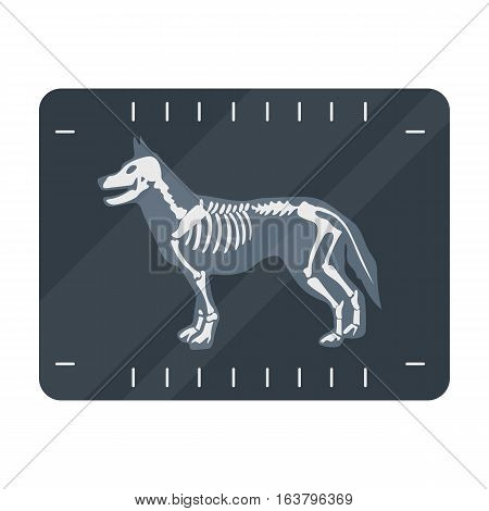 Dog x-ray icon in cartoon design isolated on white background. Veterinary clinic symbol stock vector illustration.