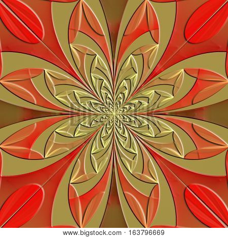 Fabulous symmetrical pattern of the leaves with embossed effect. Artwork for creative design art and entertainment.