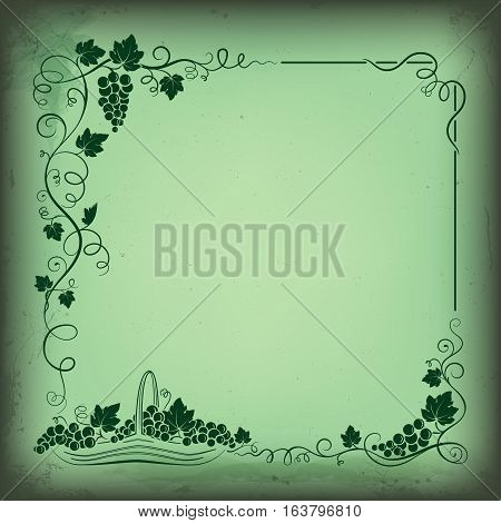 Decorative frame formed by bunch of grapes, vines, leaves, vignettes and basket with grapes. Grunge background.