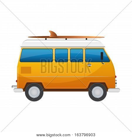 Vintage yellow travel minibus. Camper cartoon van. Tourist coach in flat design with surf board. RV summer auto traveler isolated on white background.