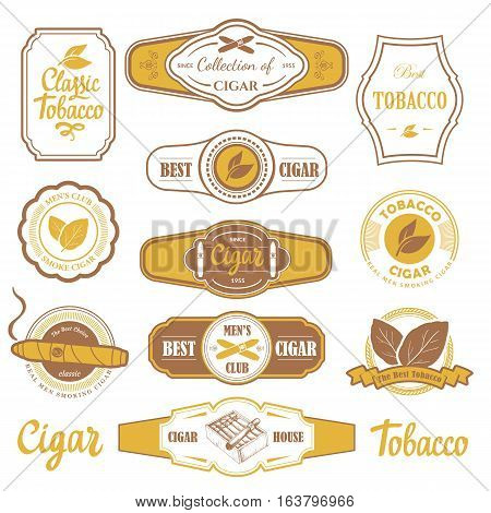 Vector Illustration with logo and labels. Simple symbols tobacco, cigar. Traditions of smokeke. Decorative elements, icon for your design. Gentleman style.