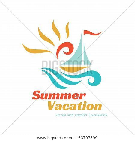 Summer travel vacation vector logo concept illustration. Paradise resort color graphic sign. Sea waves, sun and sail.