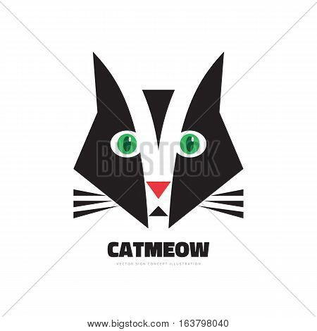 Cat meow - vector logo concept illustration. Creative graphic sign. Design element.