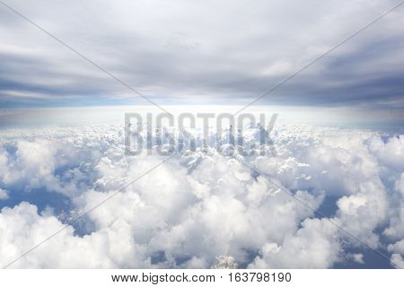 Horizon blue sky background above.Heaven concept.Airplane travel concept