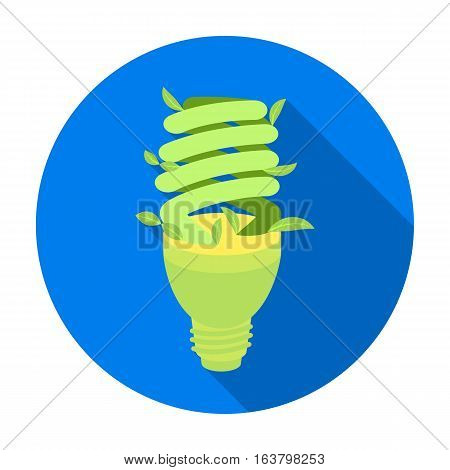 Ecological fluorescent lamp icon in flat design isolated on white background. Bio and ecology symbol stock vector illustration.