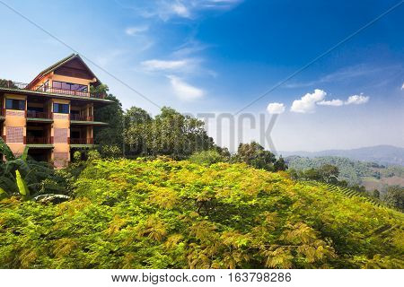 House and landscape.Exotic places and tourism.Travel and hotel concept.Exotic travels and adventures .Thailand trip.Chiang Mai landmarks