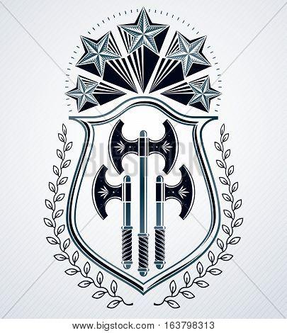 Vintage heraldic vector decorative emblem composed with pentagonal stars and hatchets