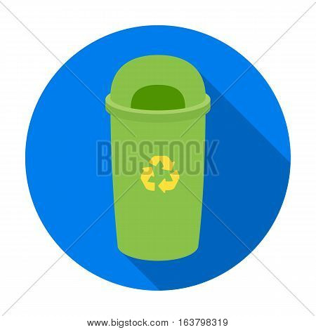 Recycle garbage can icon in flat design isolated on white background. Bio and ecology symbol stock vector illustration.