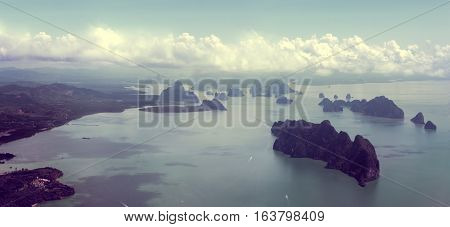 Islands and sea scenery from above.Aerial view.Seascape and Thailand islands from aerial view