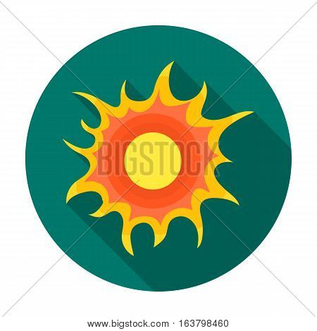 Sun icon in flat design isolated on white background. Bio and ecology symbol stock vector illustration.