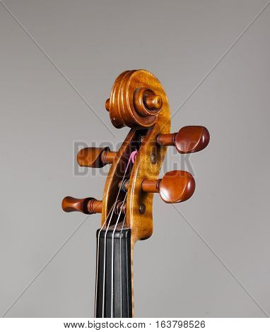 Stringed Musical Instrument a violin on a white - grey background.