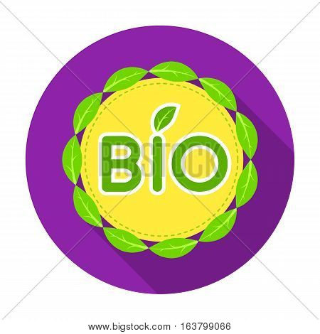 Bio label icon in flat design isolated on white background. Bio and ecology symbol stock vector illustration.