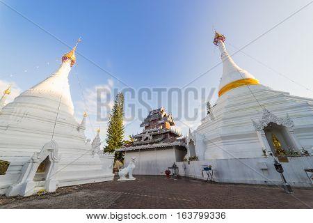 White Pagoda At Temple Wat Phra That Doi Kong Mu