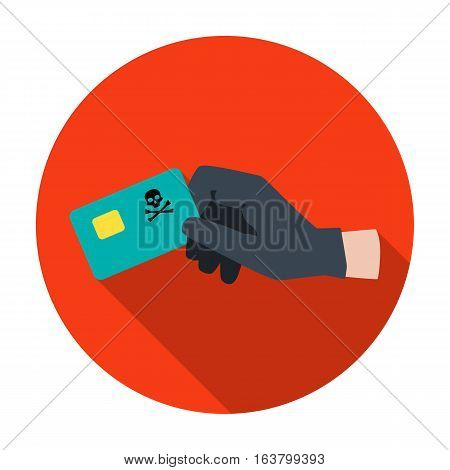 Credit card fraud icon in flat design isolated on white background. Hackers and hacking symbol stock vector illustration.