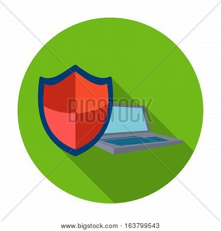 Data security of laptop icon in flat design isolated on white background. Hackers and hacking symbol stock vector illustration.