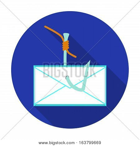 Hooked e-mail icon in flat design isolated on white background. Hackers and hacking symbol stock vector illustration.