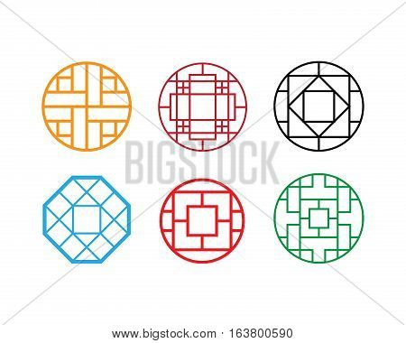Circle Chinese pattern window frame vector design
