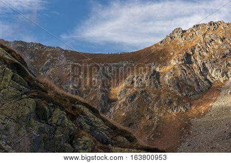 Autumnal view of the mountain pass. Tatry