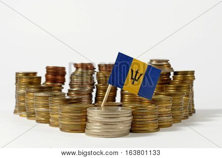 Barbados Flag Waving With Stack Of Money Coins