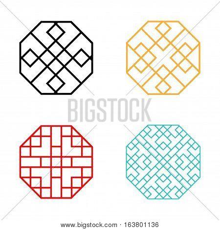 Set of Hexagon Korean pattern window frame vector