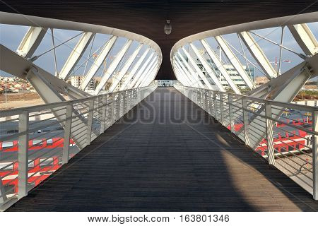 BEER SHEVA ISRAEL - DECEMBER 24 2016: Futuristic footbridge in the High-Tech Park in Beer Sheva. Architectural style of high-tech