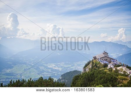 Berchtesgaden Germany - September 28 2016: View of the Kehlsteinhaus also known as Hitler's Eagle Nest a Third Reich-era cabin on top of the summit of the Kehlstein near Berchtesgaden Germany.