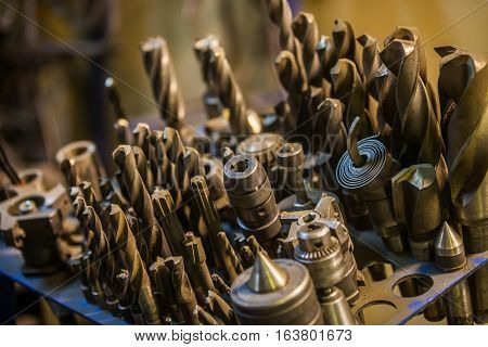 Close up shot of some used drilling bits.